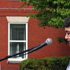 Ayer-Shirley MS student Cory Prehl, 13, reads a letter from Gov. Charlie Baker, during Ayer's Memorial Day event in from of the town hall. Nashoba Valley Voice Photo by David H. Brow
