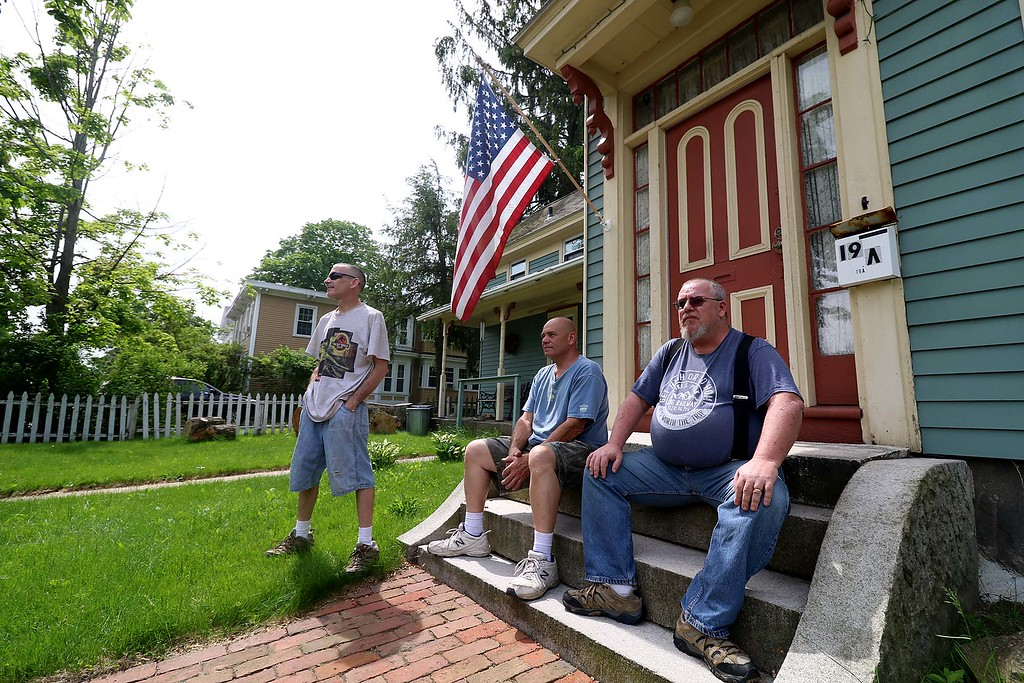. The Town of Ayer held its Memorial Day parade and ceremony on Saturday May 26, 2018. The Parade went down Park Street to Main Street and stop for a ceremony at Town Hall. After that they went on to the Pirone Park where a wreath was thrown into Grove Pond. Johnny, Bob and Chuck sit on their front porch on Main Street and watch the parade go by. SENTINEL & ENTERPRISE/JOHN LOVE