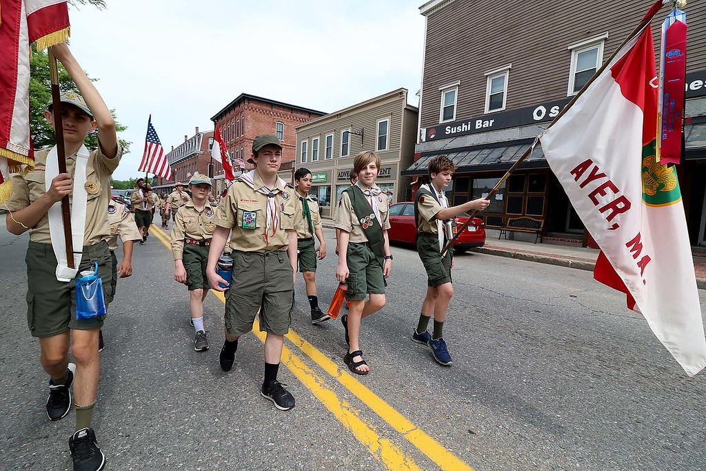 . The Town of Ayer held its Memorial Day parade and ceremony on Saturday May 26, 2018. The Parade went down Park Street to Main Street and stop for a ceremony at Town Hall. After that they went on to the Pirone Park where a wreath was thrown into Grove Pond. Ayer Boy Scouts march down Main Street in the parade. SENTINEL & ENTERPRISE/JOHN LOVE