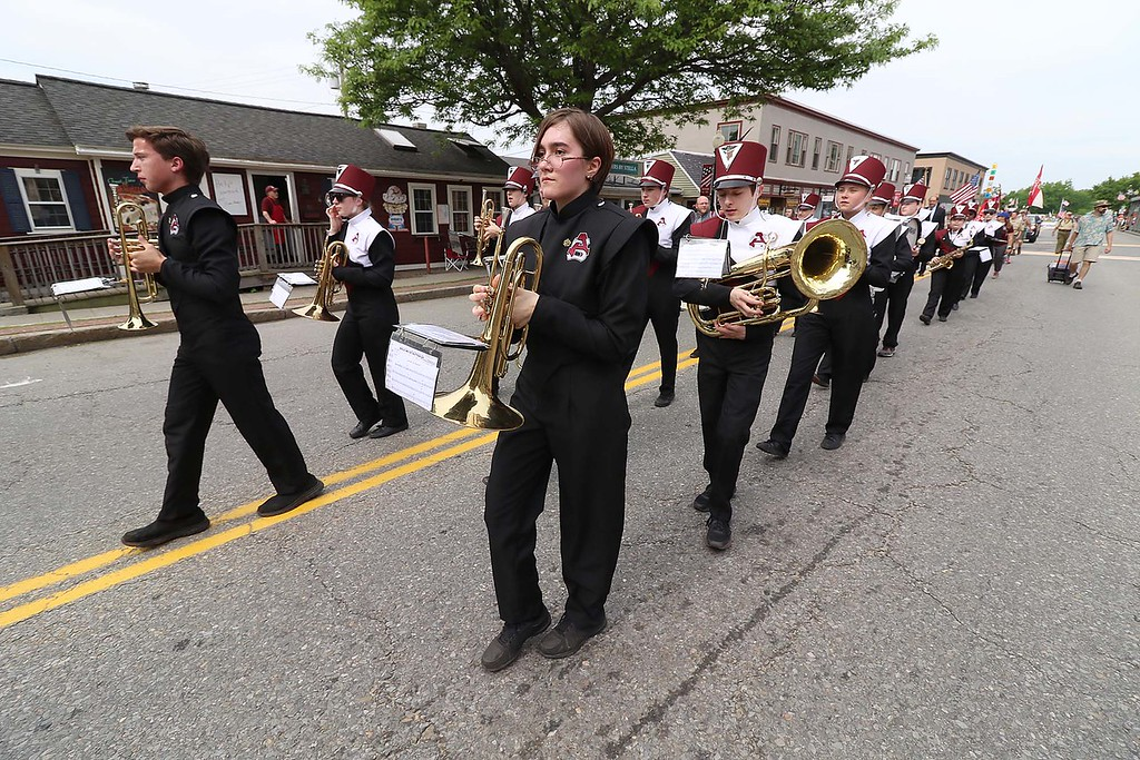 . The Town of Ayer held its Memorial Day parade and ceremony on Saturday May 26, 2018. The Parade went down Park Street to Main Street and stop for a ceremony at Town Hall. After that they went on to the Pirone Park where a wreath was thrown into Grove Pond. The Ayer Shirley Regional High School band participated in the parade. SENTINEL & ENTERPRISE/JOHN LOVE