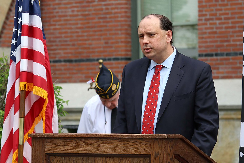 . The Town of Ayer held its Memorial Day parade and ceremony on Saturday May 26, 2018. The Parade went down Park Street to Main Street and stop for a ceremony at Town Hall. After that they went on to the Pirone Park where a wreath was thrown into Grove Pond. Many listened to State Senator Jamie Eldridge addressed the crowd at the ceremony held at Town Hall during the parade. SENTINEL & ENTERPRISE/JOHN LOVE