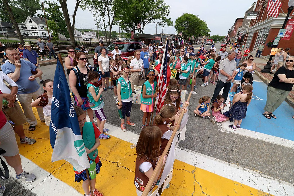 . The Town of Ayer held its Memorial Day parade and ceremony on Saturday May 26, 2018. The Parade went down Park Street to Main Street and stop for a ceremony at Town Hall. After that they went on to the Pirone Park where a wreath was thrown into Grove Pond. Many listened to State Representative Sheila Harrington as she addressed the crowd at the ceremony held at Town Hall during the parade. SENTINEL & ENTERPRISE/JOHN LOVE