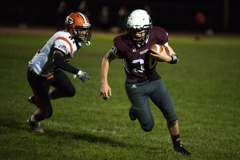 Ayer-Shirley Regional freshman Gabe Davis runs the ball toward the end zone at the end of the 3rd quarter during a varsity football game at home against Gardner on Friday Oct. 20, 2017.  SENTINEL & ENTERPRISE JEFF PORTER
