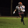 Gardner freshman Zach Lemon carries the ball wide during a varsity football game against Ayer-Shirley Regional on Friday Oct. 20, 2017 at Ayer-Shirley Regional High School.  SENTINEL & ENTERPRISE JEFF PORTER