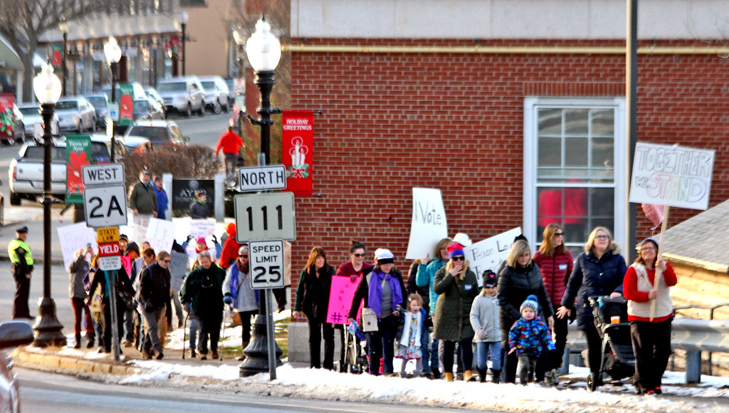 . Start of the local Women\'s March in Ayer, leading is Beth Condon of Ayer. SUN/David H. Brow