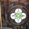 Stained glass with bell rope