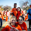 Nia Fleurancois ,9, of Fitchburg (left) and Madison Leone, 9, of Ayer (right) stand with a group of kids in downtown Ayer on Sunday for a global freezemob/flashmob celebration dance for kindness which was performed in front of Ayer's Town Hall.  Sentinel & Enterprise photo/Jeff Porter