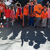 A group of kids gather in downtown Ayer on Sunday for a global freezemob/flashmob celebration dance for kindness performed in front of Ayer Town Hall.  Sentinel & Enterprise photo/Jeff Porter