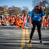 Graycie Farnsworth , 10, daughter of dance organizer Karyn Farnsworth, stands in a pose as kids re-group on the street for the freeze portion of Sundays global freezemob/flashmob celebration dance for kindness performed in fron of Ayer Town Hall.  Sentinel & Enterprise photo/Jeff Porter