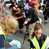 Firefighters and EMT's process and treat mock train crash victims at the PanAm railroad yard in Ayer. Nashoba Valley Voice Photo by David H. Brow