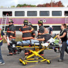 ER personal and firefighters deal with mock train crash victims. Nashoba Valley Voice Photo by David H. Brow