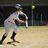 (06/03/18) St. Bernard's batter Lyssa Hoyt bunts the ball during a varsity softball game at home against Ayer/Shirley on Saturday.  SENTINEL & ENTERPRISE JEFF PORTER