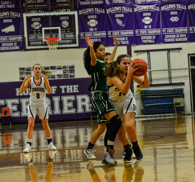 KRISTOPHER RADDER — BRATTLEBORO REFORMER<br /> Bellows Falls' girls hosted Winooski during a playoff game at Bellows Falls Union High School on Tuesday, March 3, 2020.