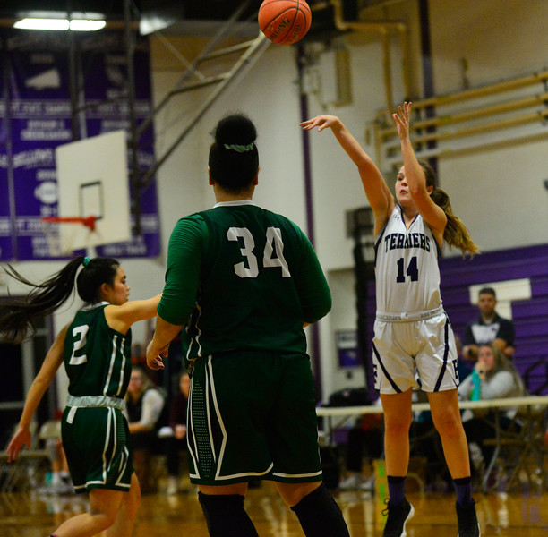 KRISTOPHER RADDER — BRATTLEBORO REFORMER<br /> Bellows Falls' Emily Bazin makes a basket during a playoff game at Bellows Falls Union High School on Tuesday, March 3, 2020.
