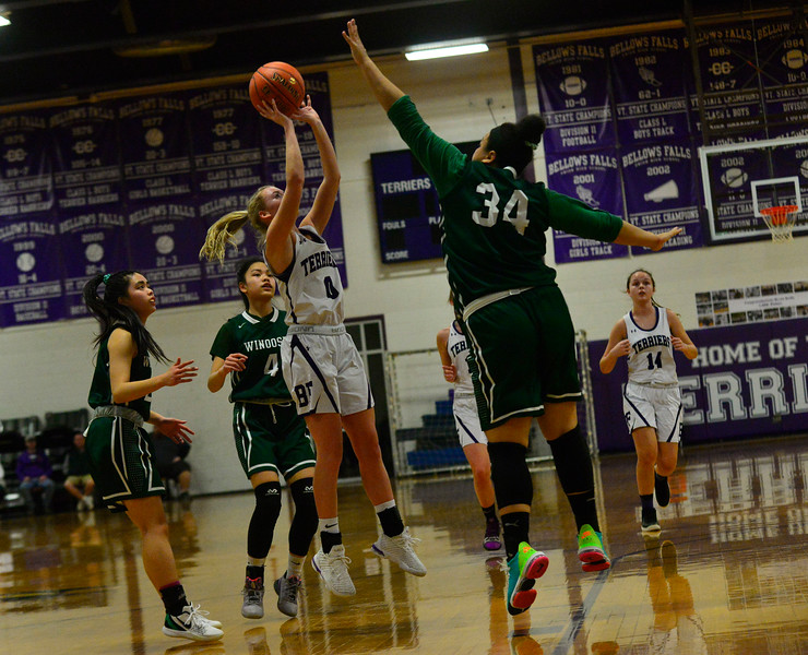 KRISTOPHER RADDER — BRATTLEBORO REFORMER<br /> Bellows Falls' Halle Dickerson takes a shot during a playoff game at Bellows Falls Union High School on Tuesday, March 3, 2020.