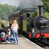 steam engine Joem on The Wensleydale Railway at Bedale with passengers waiting to boar