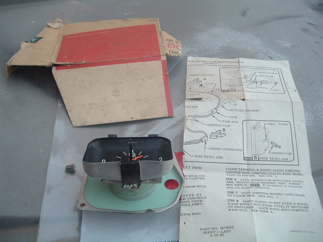 1966 1967 chevelle, malibu dash clock nos gm # 986452 (z 986452)