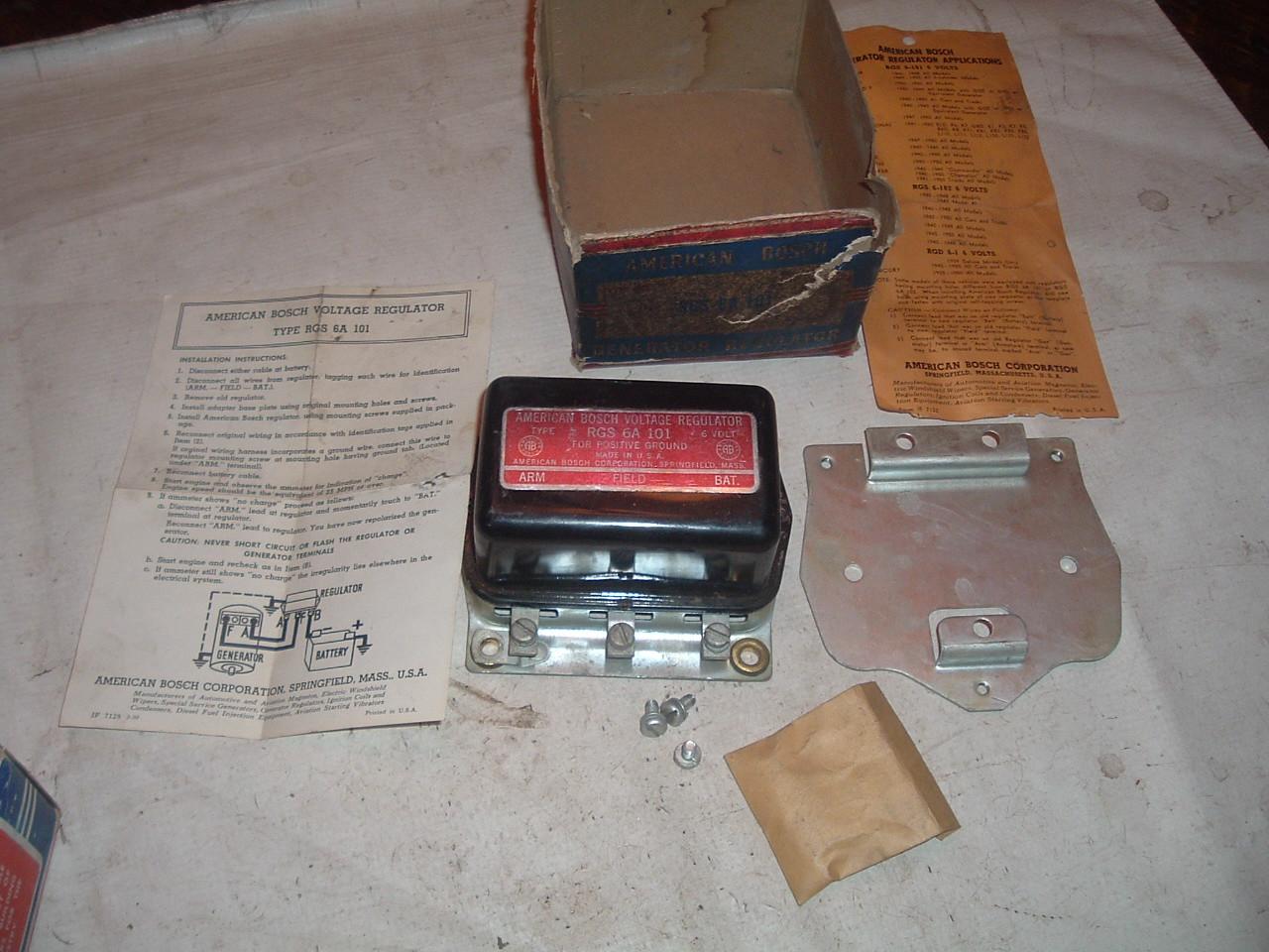 1940 thru 1951 Mopar Jeep Nash Studebaker new voltage regulator # RGS-6-101 (z rgs101)