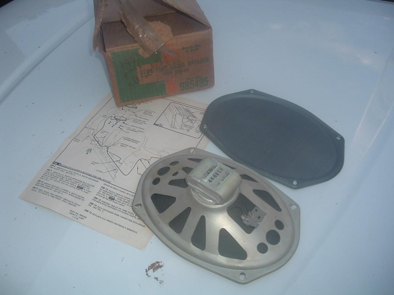 1963 chevrolet impala belair biscayne rear radio speaker kit nos gm # 985495 (z 985495)