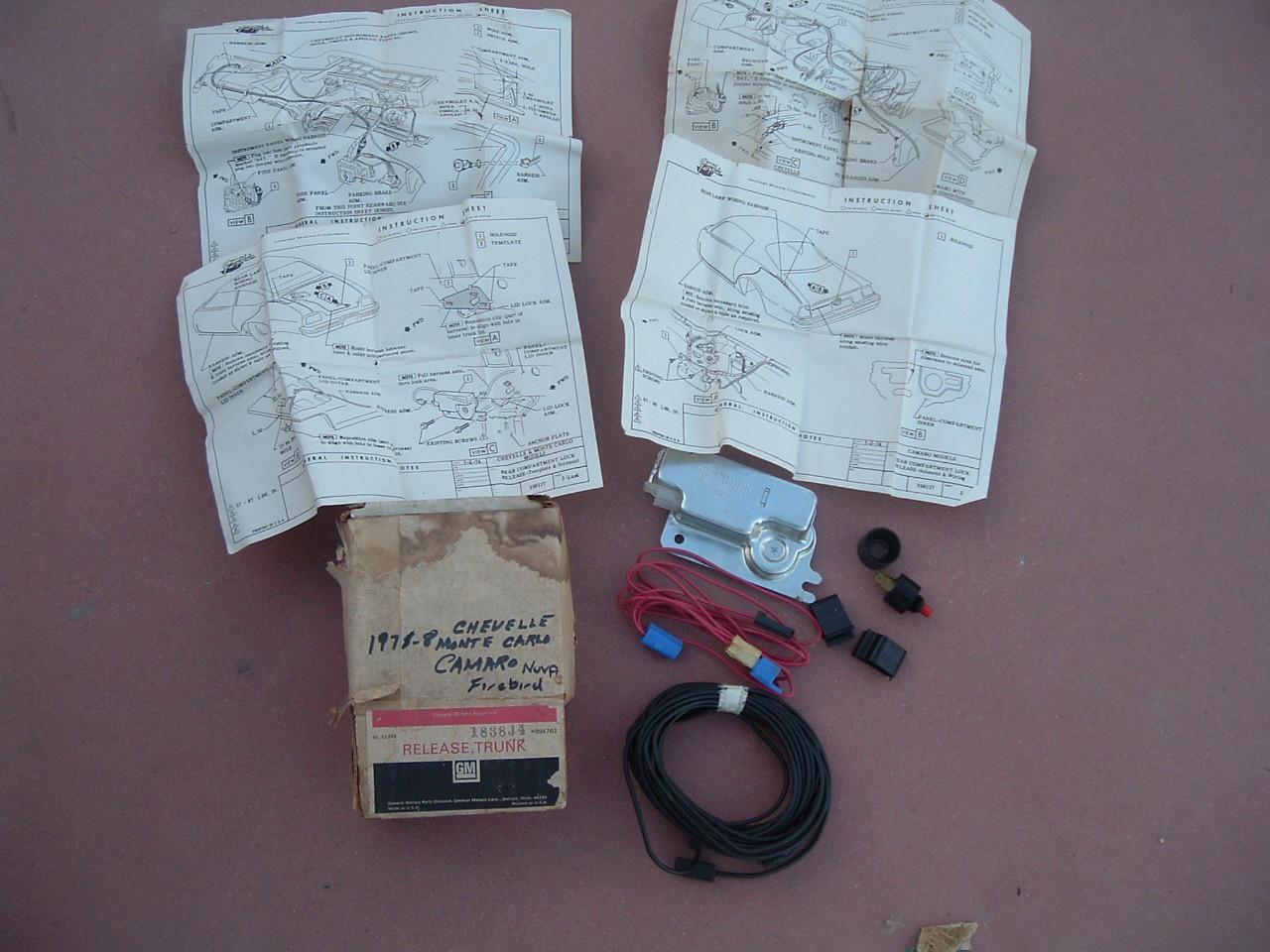 1976 77 78 camaro monte carlo trunk opener accessory kit NOS gm # 994763 (z 9954763)