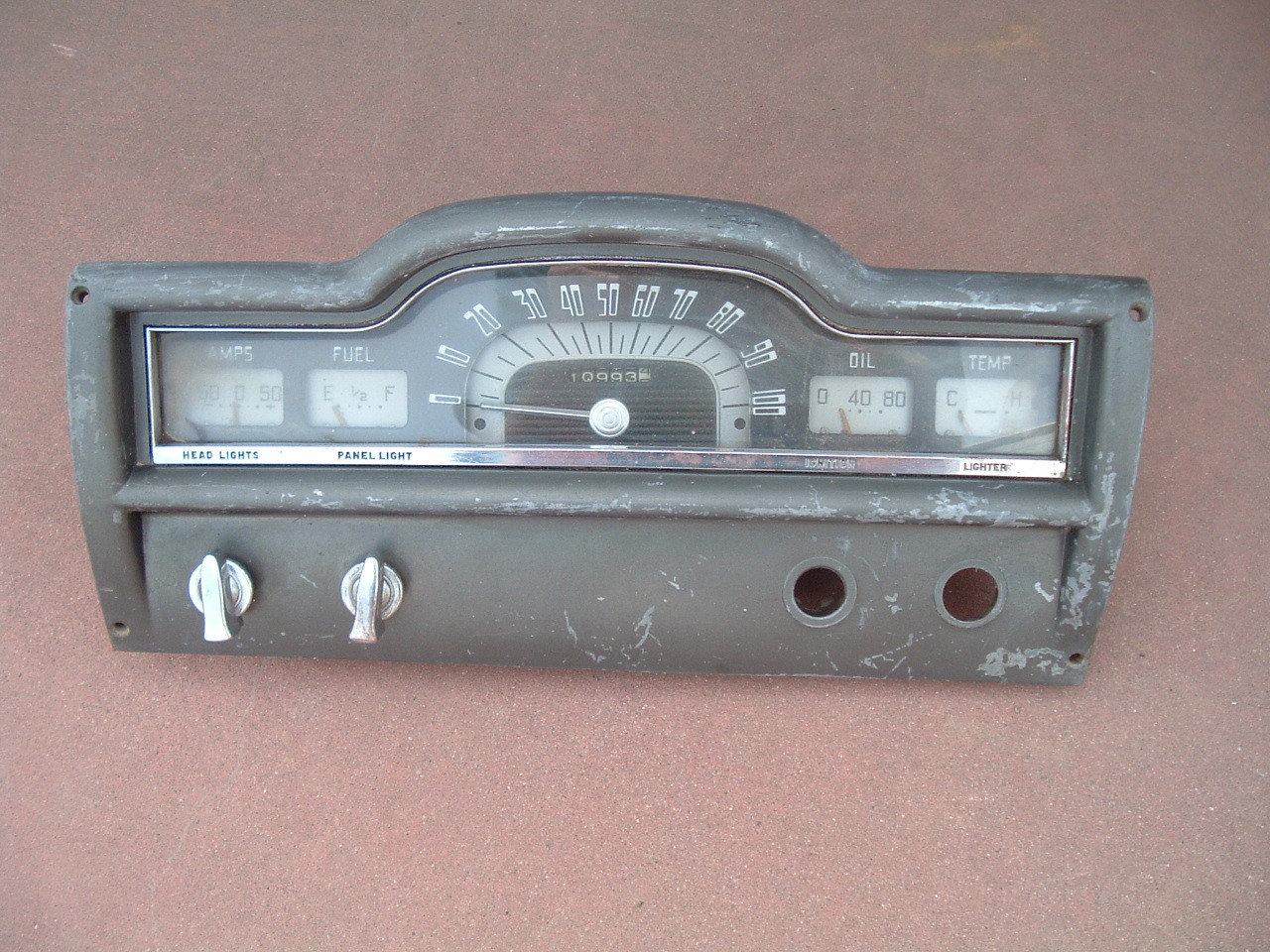 1952 Plymouth speedometer and gauge cluster original used (z 52plymcluster)
