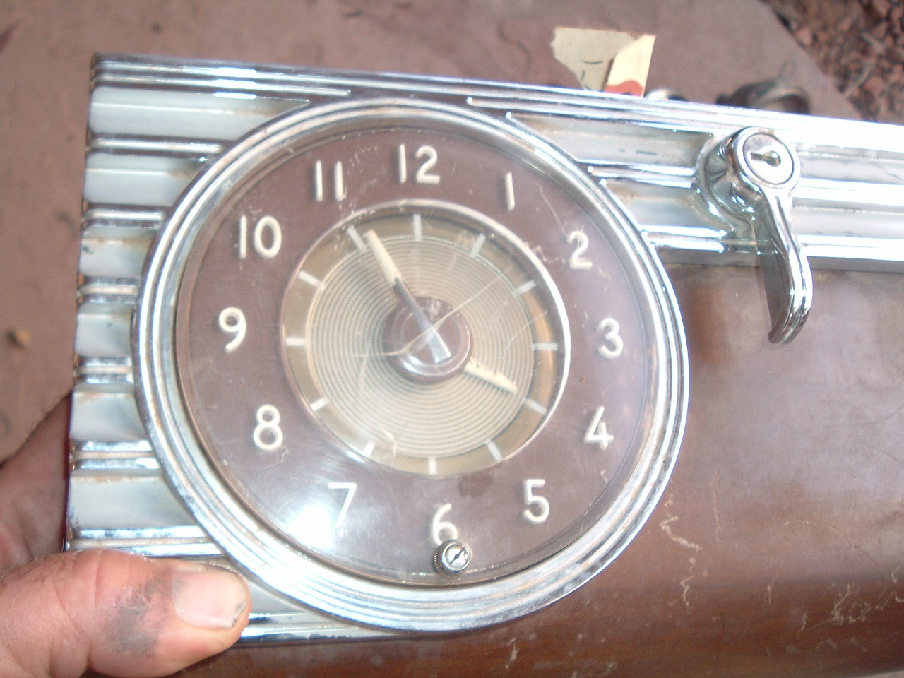 1946 packard glove box door with clock original (z 46packclock)