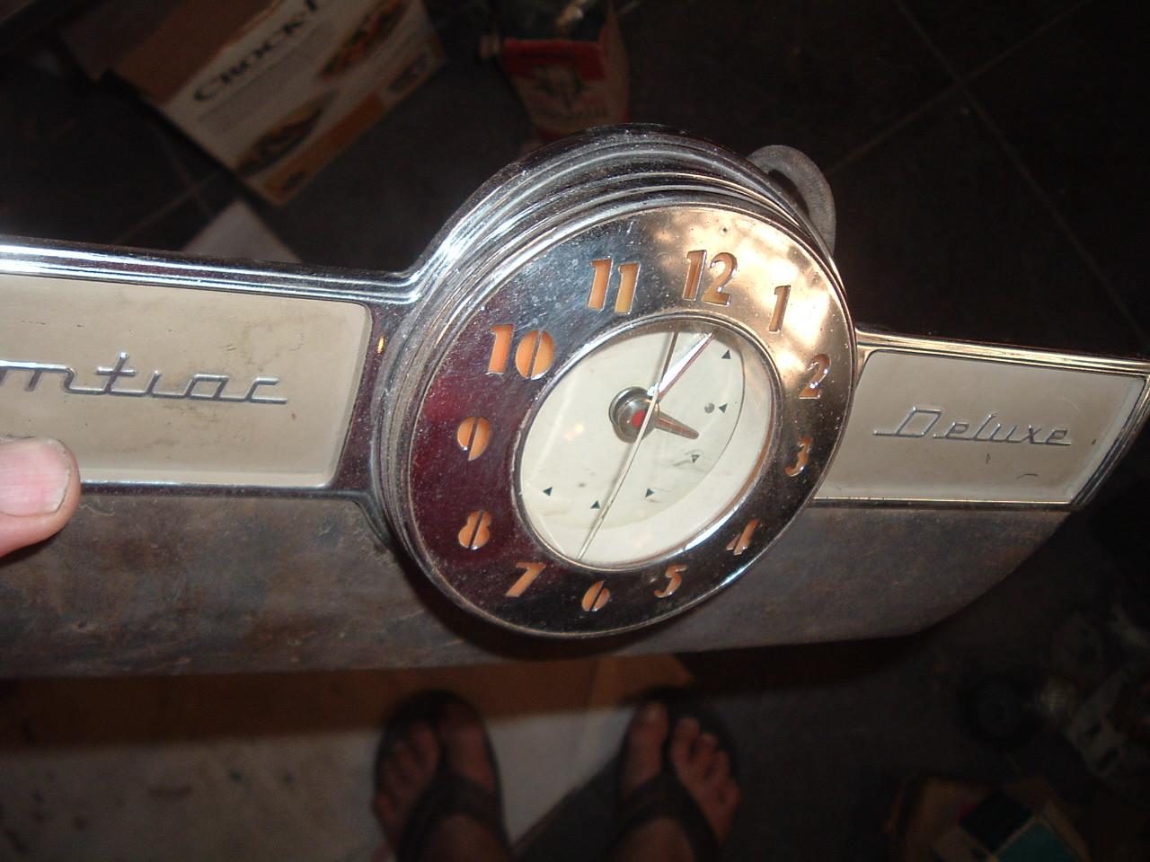 1939 pontiac deluxe glove box door with dash clock (z 39 pontiac clock )