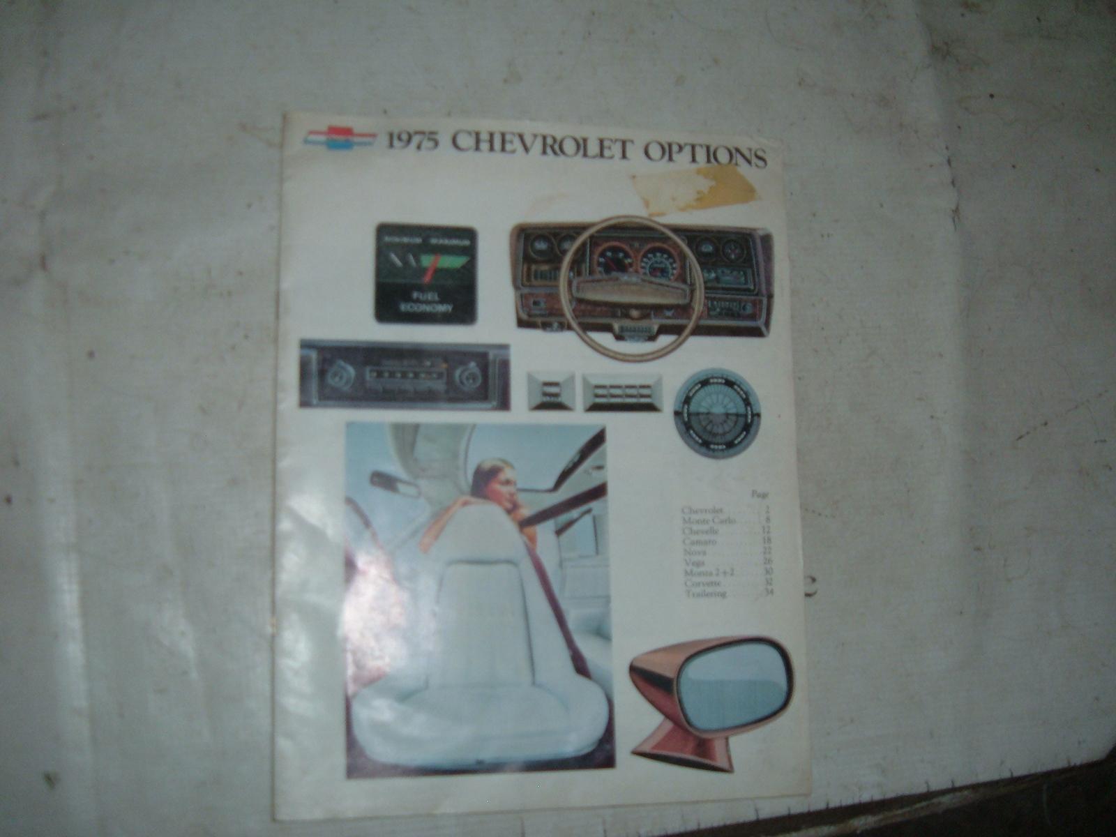 1975 chevrolet dealer accessory catalog nova corvette, monte carlo, camaro ,chevelle, caprice ,impala