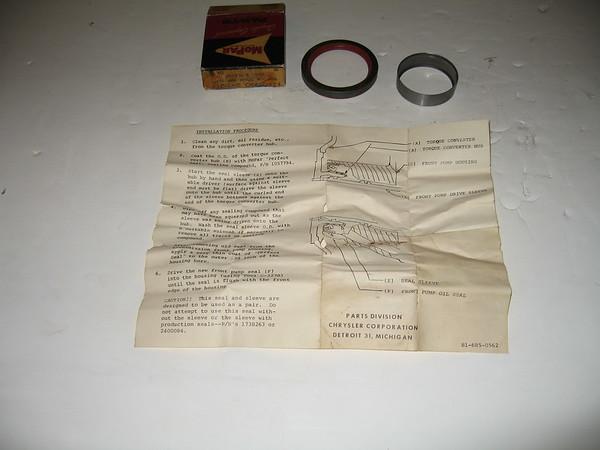 1951 1953 1954 1955 1956 1957 1958 1959 1960 1961 Mopar NOS auto trans torque converter hub sleeve seal pkg # 2421277 (z