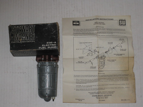 New vintage Stewart Warner 12 volt electric fuel pump # 235-a