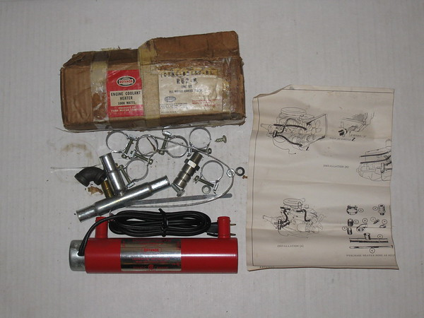1963 thru 1972 Ford Lincoln Mercury NOS engine coolant heater kit # c3rz-8b152-b