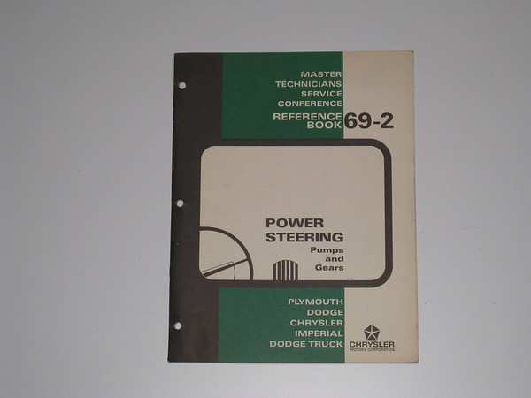 1969 Mopar master tech book- power steering pumps & gears # 69/2 (zd 69/2)