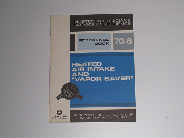 1970 Mopar master tech book- heated air intake double snorkel #70/6 (zd 70/6)