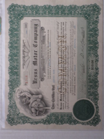 1921 Ursus Motor Company stock certificate (canceled) # 21umsc