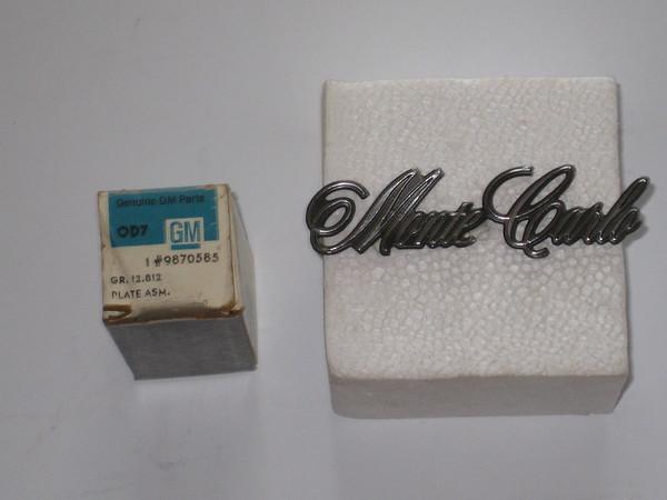 1970 1971 1972 Chevrolet Monte Carlo NOS roof panel emblem monte carlo # 9870585