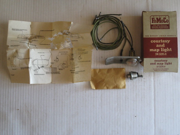 1949 1950 1951 Ford passenger car NOS courtesy and map light accessory kit # 1a-18295-b