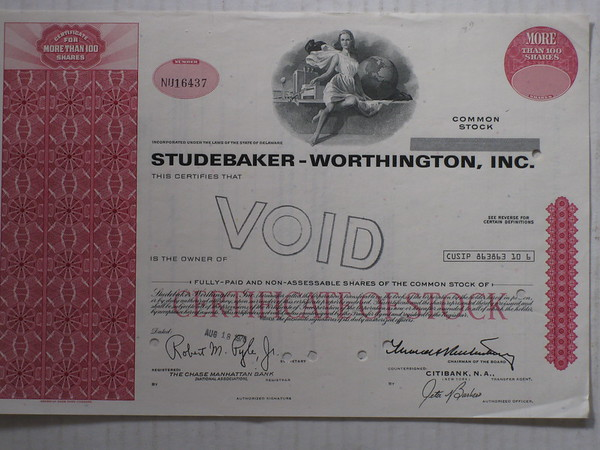 1976 Studebaker-Worthington Inc. stock certificate (canceled) # 76swsc