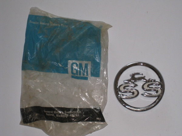 1963 Chevrolet Impala SS NOS rear quarter panel SS ornament # 3827300