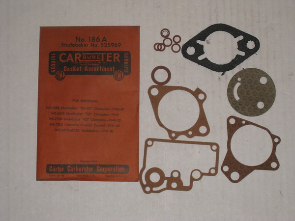 1937 thru 1952 Studebaker Chevrolet new carter carburetor gasket assortment # 186a