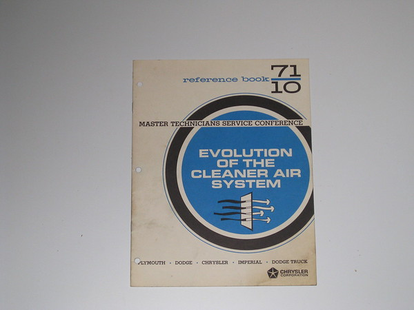 1971 Mopar Master tech book- evolution clean air system #71/10 (zd 71/10)