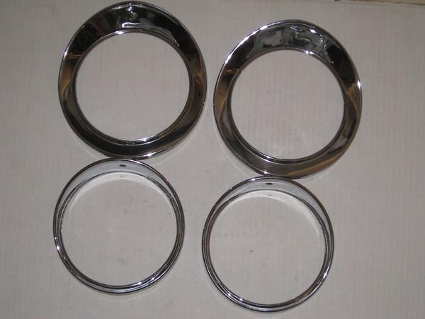 1961 62 63 64 65 66 67 68 69 1970 Jaguar Mark 10 chrome headlight bezel set 4 pieces # 54522144/5