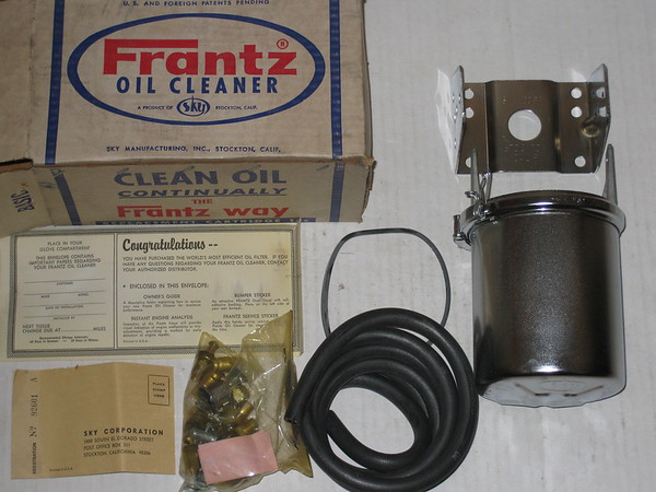 NEW Frantz add on chrome oil filter assembly kit GM Ford Mopar AMC etc # frantzof