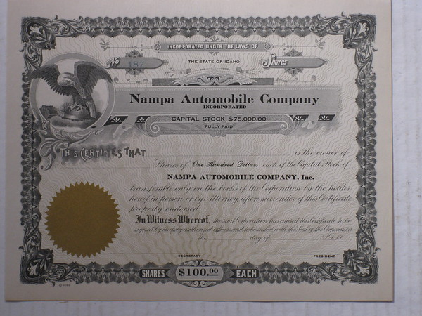 Nampa Automobile Company New unissued stock certificate early 1900's # nasc