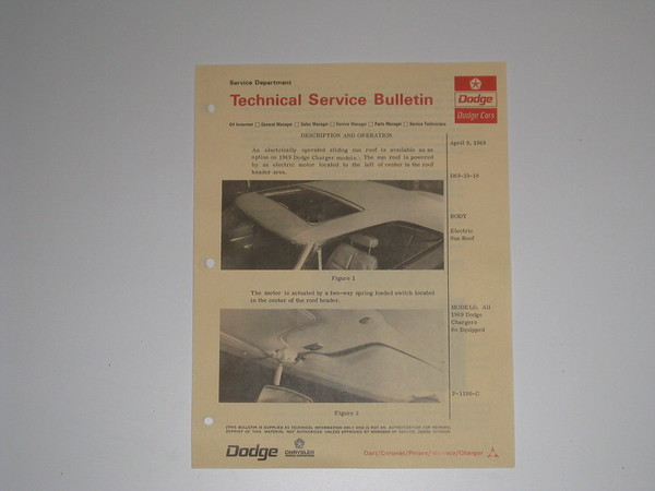 1969 Dodge Charger sun roof technical service bulletin #d69-23-18 (zd d69-23-18)