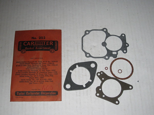 1954 1955 Plymouth Dodge truck NOS carter carburetor gasket assortment #252