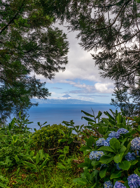 Framed View to Pico Island in Azores Photography By Messagez com