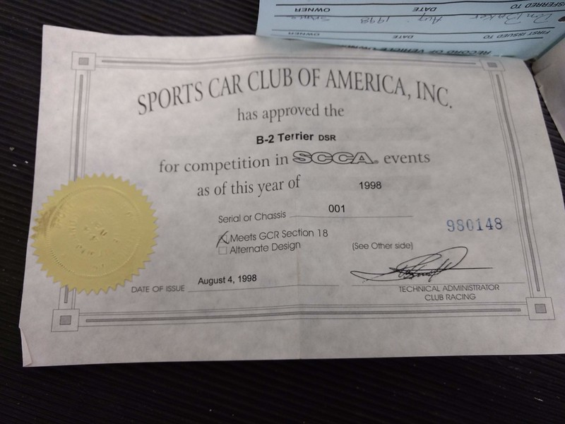 "Aug. 4th, 1998 SCCA ""Statement of Approval"" #980148 for the car stating the car  ""Meets GCR Section 18"""