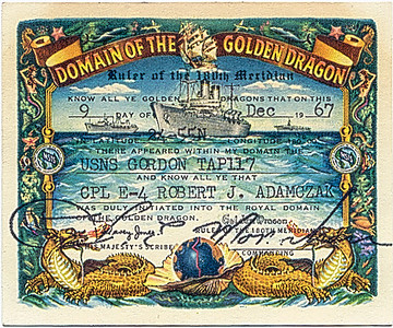Crossing the Dateling card from the USNS Gorden