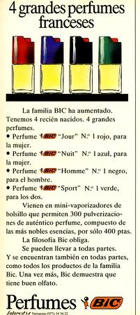 BIC 4 parfums (Nuit - Jour - Homme - Sport) 1988 Spain half page '4 grandes perfumes franceses'