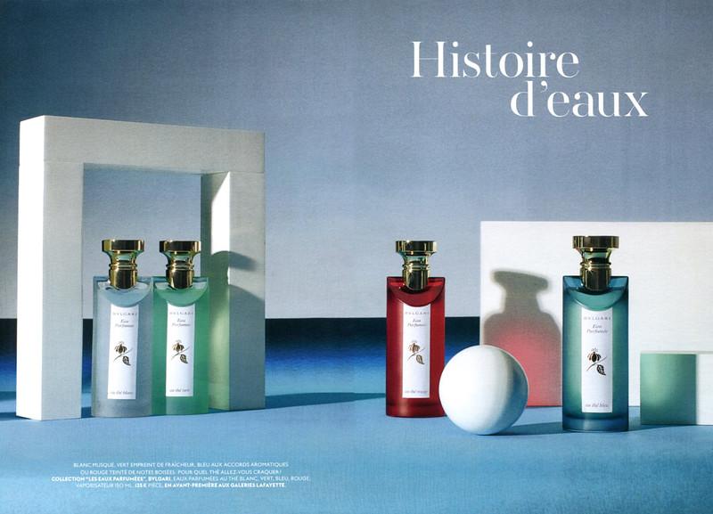 BULGARI Eau Parfumée Diverse (au Thé Blanc - au Thé Vert - au Thé Rouge - au Thé Bleu) 2015 France spread (Galeries Lafayette) 'Histoire d'eaux'